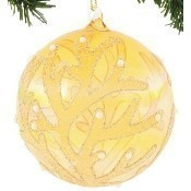 Amber Glass Coral Ball Ornament Thumbnail