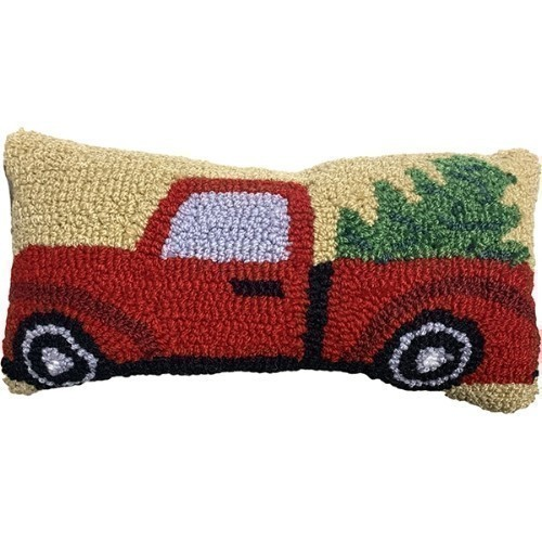 Christmas Truck Hooked Pillow Thumbnail