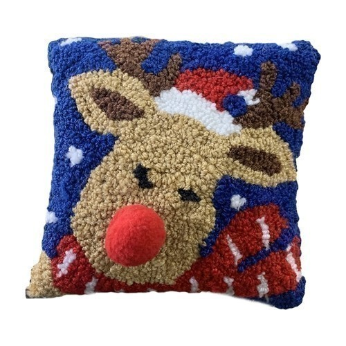 Christmas Reindeer Hooked Pillow Thumbnail