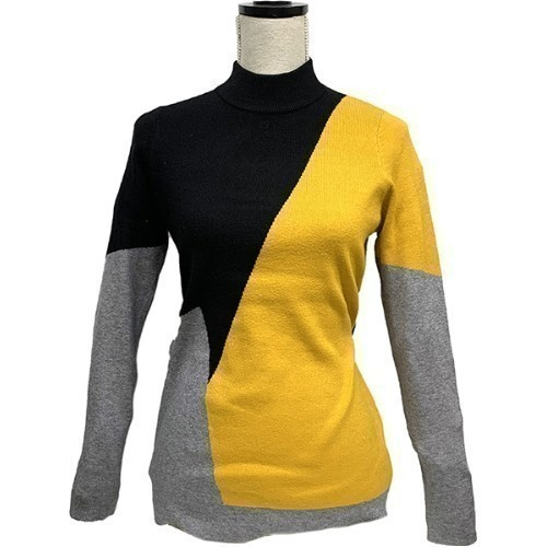 Pullover Sweater - Black, Grey & Yellow Thumbnail