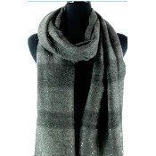 Stellar Scarf with Sequins - Charcoal/Green Thumbnail