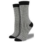 Bamboo Small Houndstooth Socks - White Thumbnail
